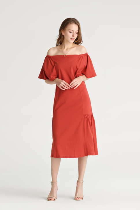 Flare Sleeve Jersey Dress