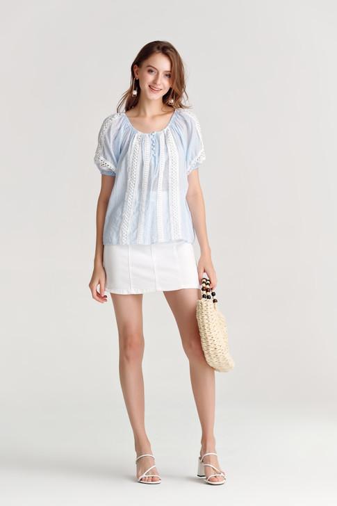Stripe Lace-Trim Top