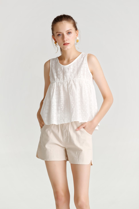 Eyelet Shirring Top