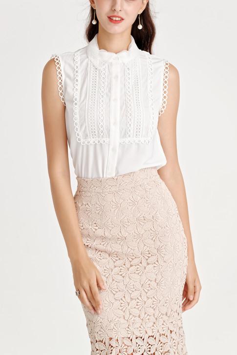 Lace-Trim Sleeveless Shirt