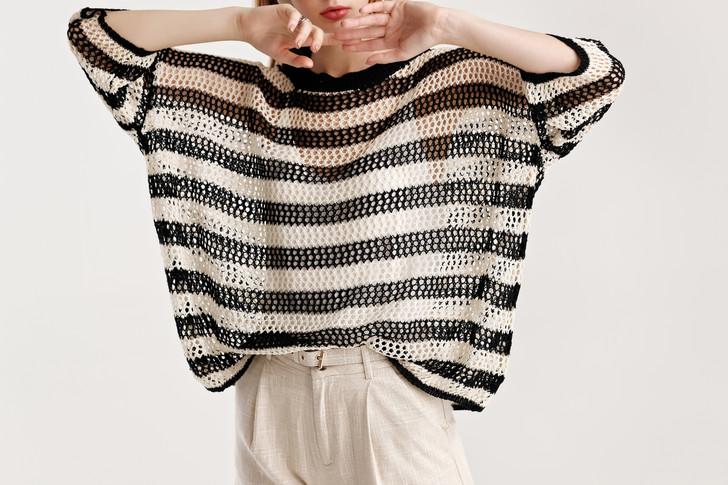 Stripe Net Knit Top