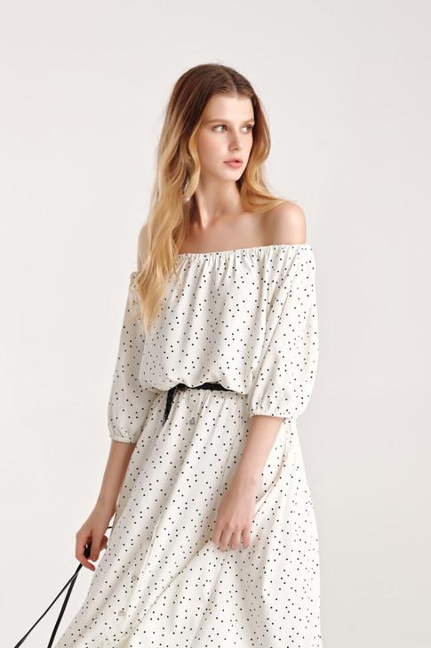 Dot Shirring Crop Top and Dot Button Down Skirt - Set