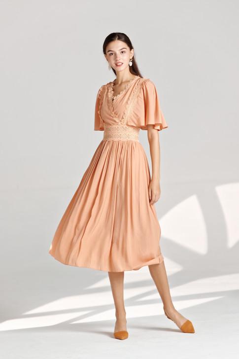 Satin Lace-Trim Dress