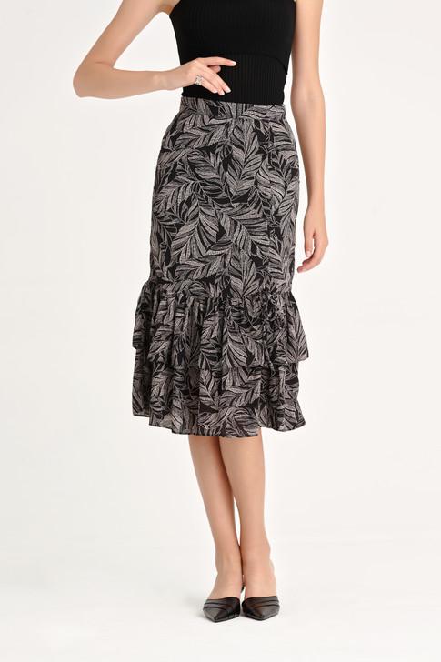 Print Shirring Skirt