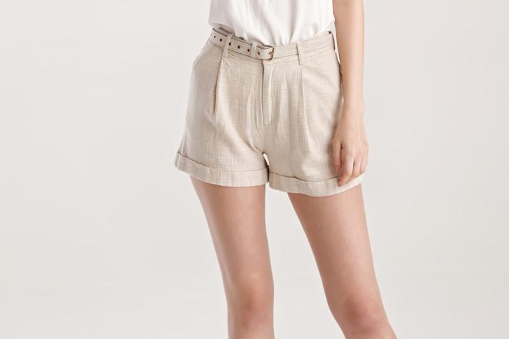 Melange Belted Shorts