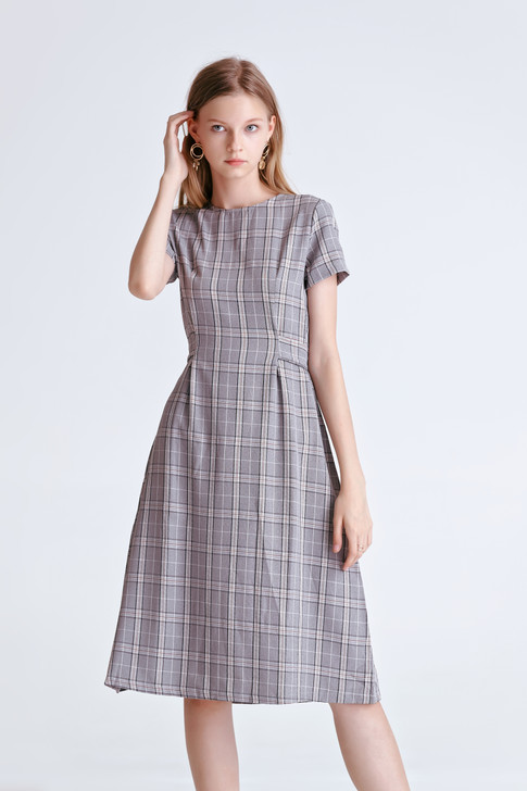 Check Short-Sleeve Dress