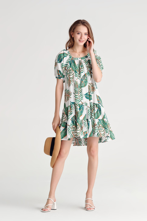 Print Frilled-Hem Dress