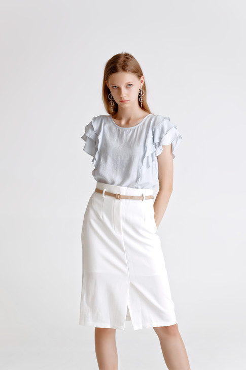 Solid Layered Sleeve Top