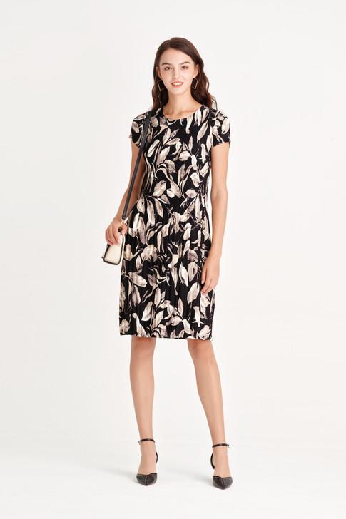 Leaf Print Pleats Dress
