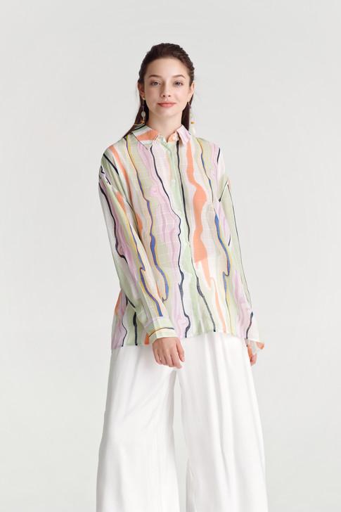 Abstract Print Sheer Shirt