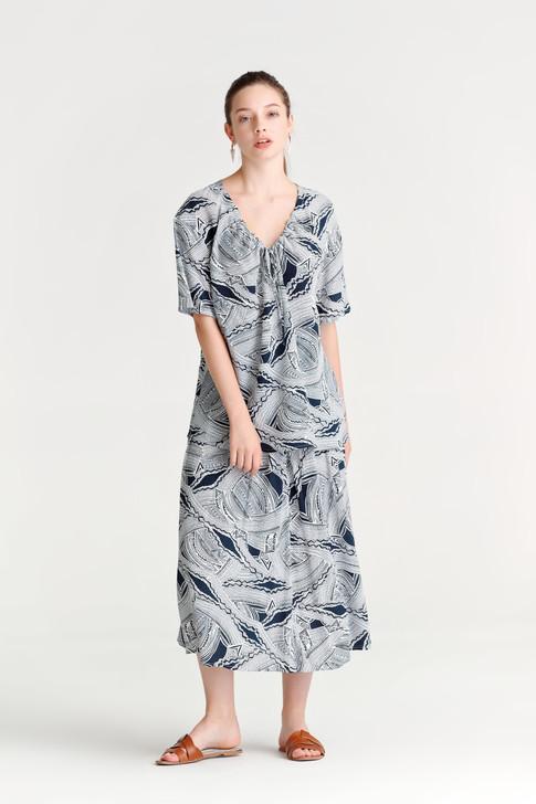 Abstract Print Waist-Panel Skirt