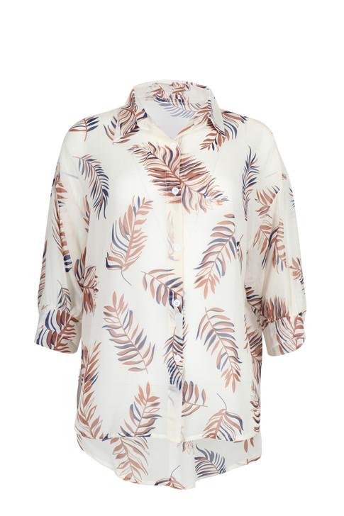 Sheer Leaf Print Shirt