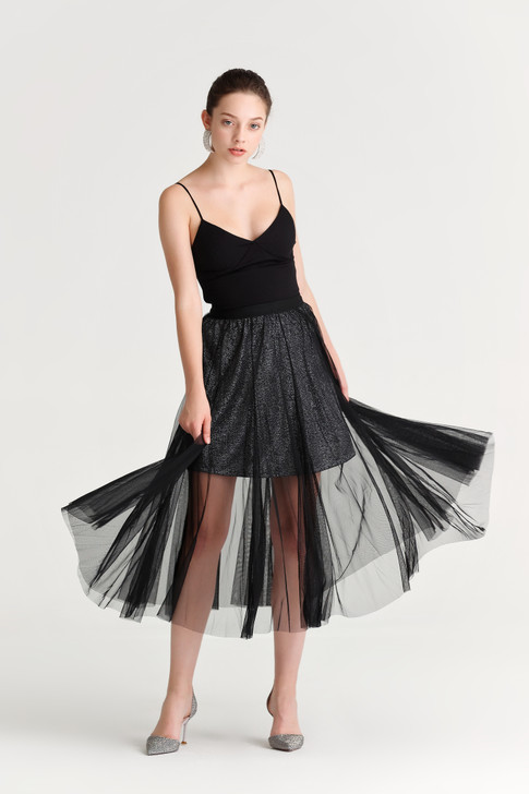 Mesh Sparkly-Lining Skirt