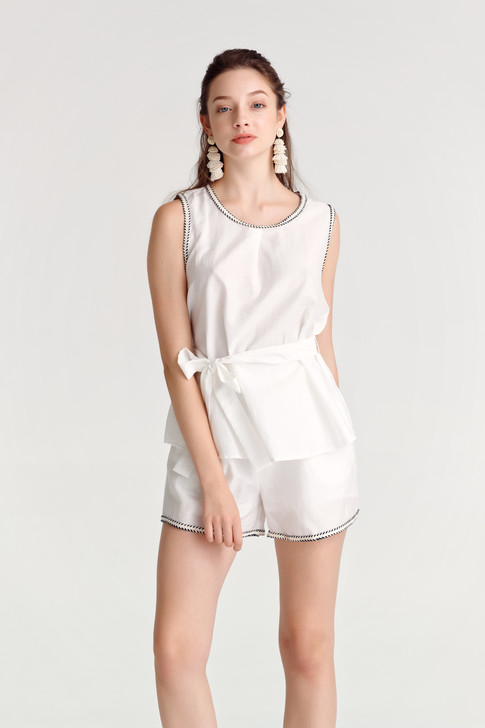 Linen Marine Top & Shorts (Set)