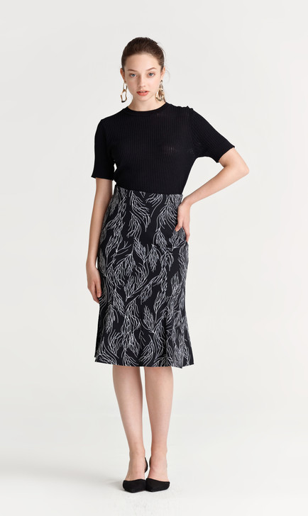 Drawing Print Flare Skirt