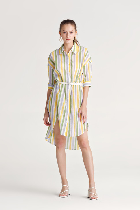 Stripe Short-Sleeve Shirt Dress