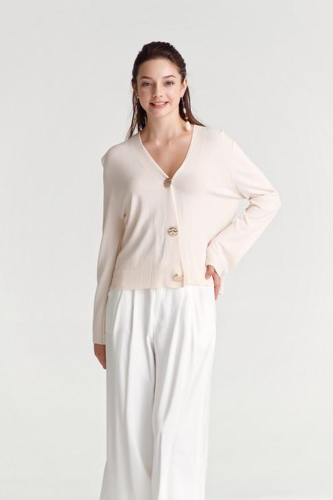 Big-Button Knit Cardigan