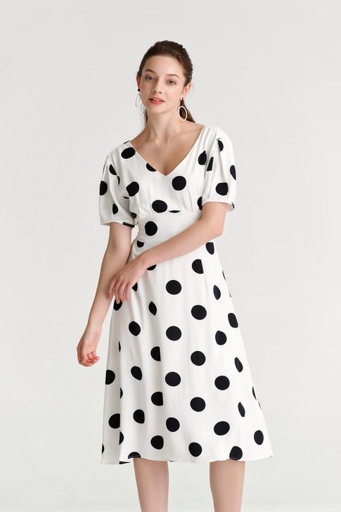 Dot Waist-Panel Dress