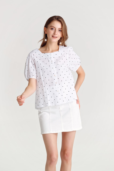 Dot Square-Neck Shirt