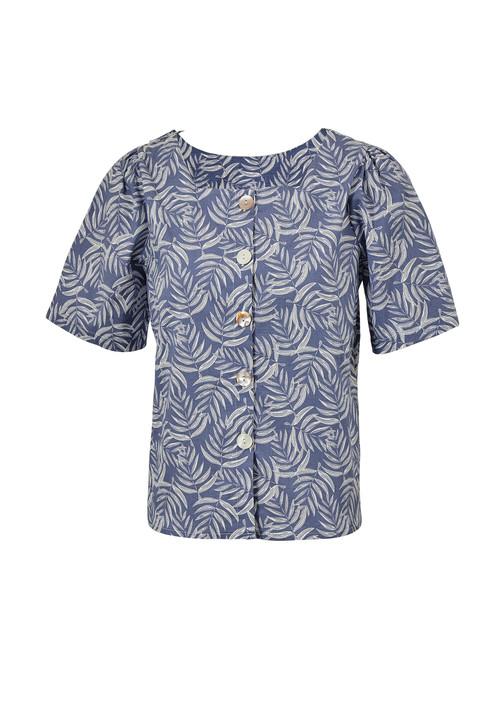 Leaf Print V-neck Shirt