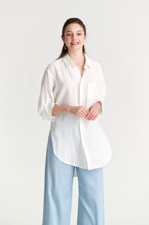 Linen like Turn-Up Sleeve Shirt