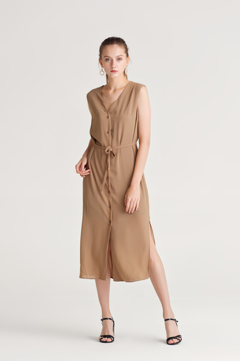 Side-Slit Button Dress