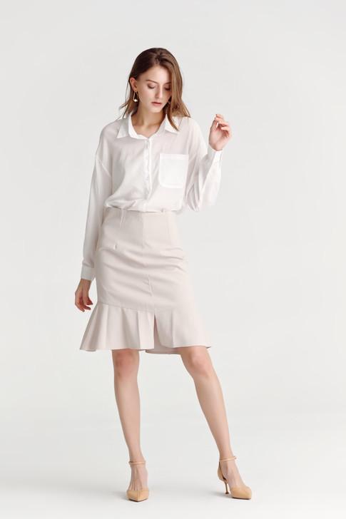 Ruffled-Hem Mini Skirt