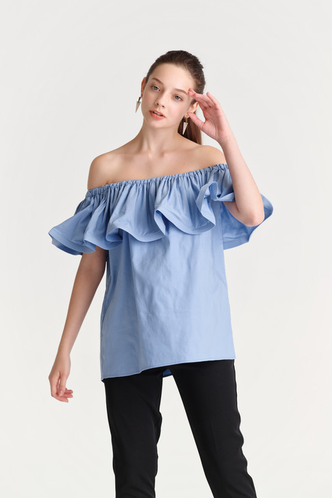 Off-Shoulder Wire-Frill Top