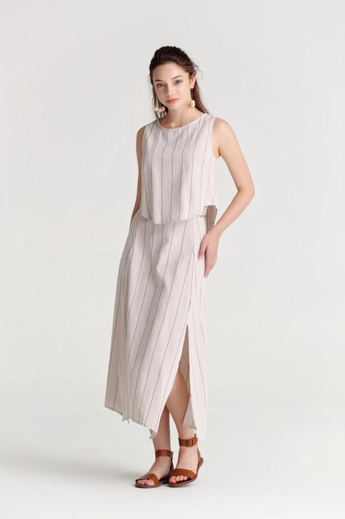 Linen like Stripe Skirt