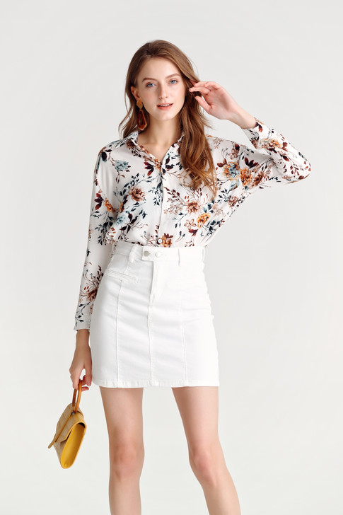 Flower Print Loose Fit Shirt