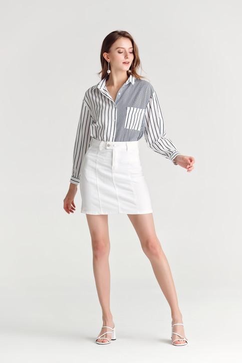 Stripe Turn-up sleeve Shirt