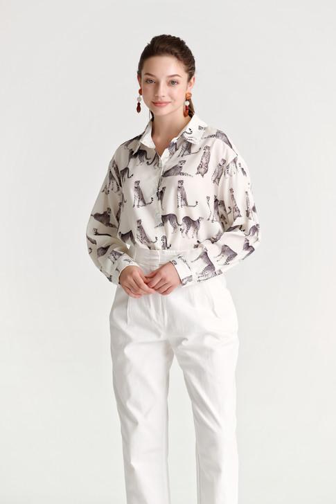 Tiger Print Loose-Fit Shirt