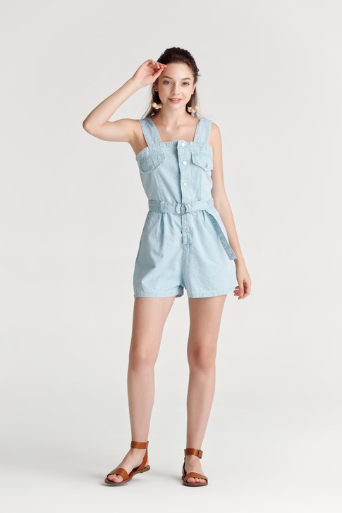 Denim Pinafore Playsuit