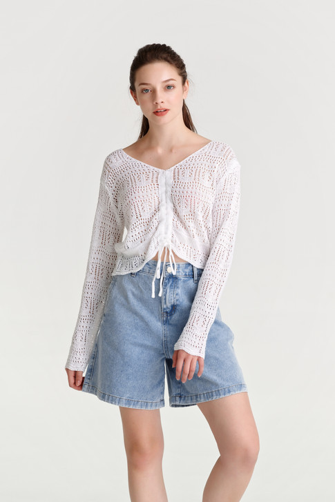 Pointelle Shirring Knit Top