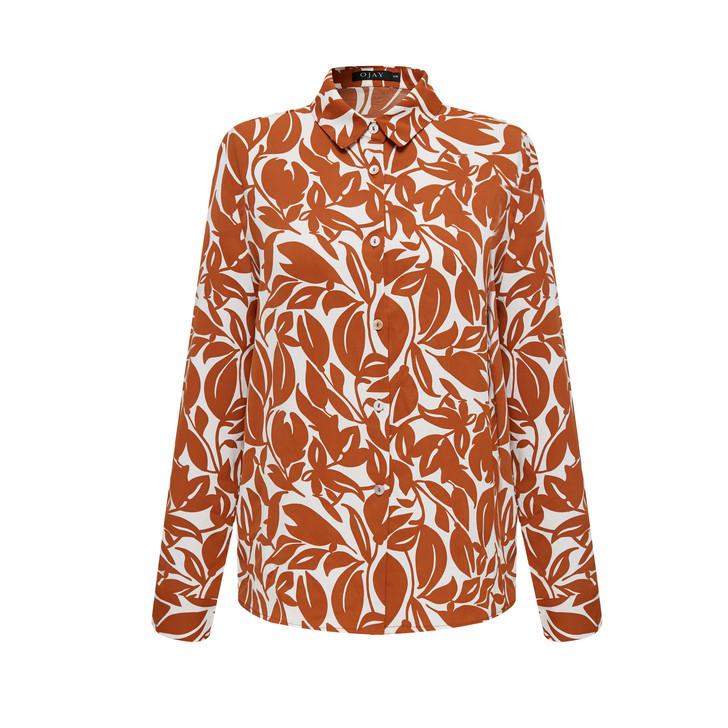 Leaf Print Loose-Fit Shirt