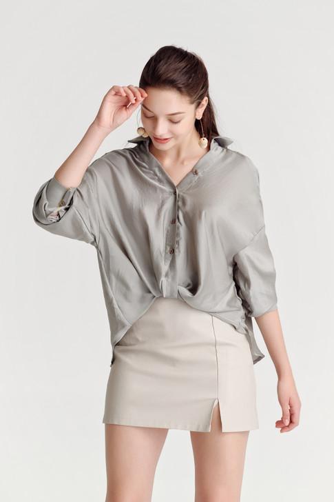 Front-Twist Oversize Shirt