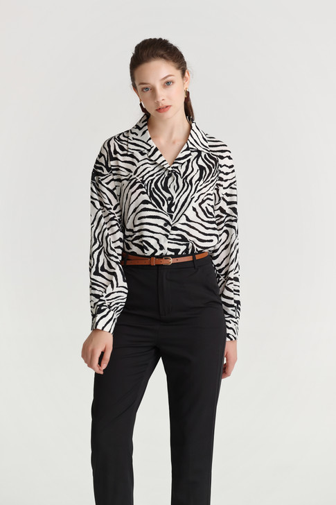 Zebra Print Loose-Fit Shirt