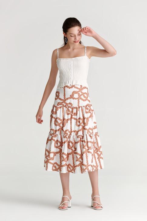 Marine Print Tiered Skirt