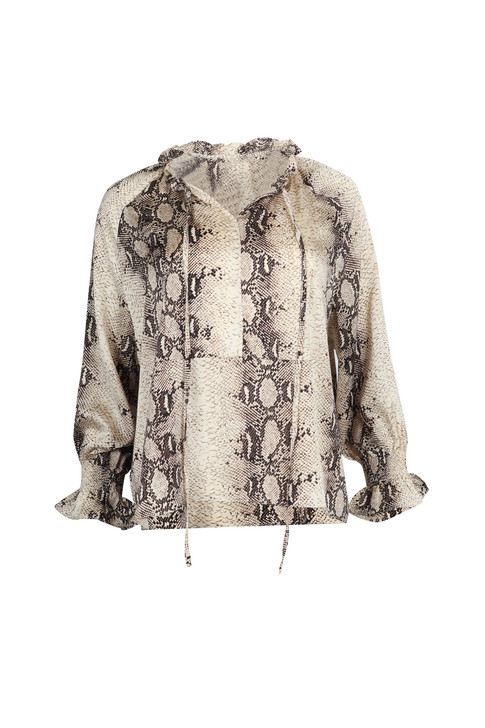Snake Print Open-neck Shirt