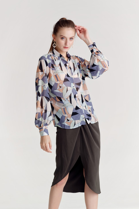 Chiffon Abstract Print Shirt