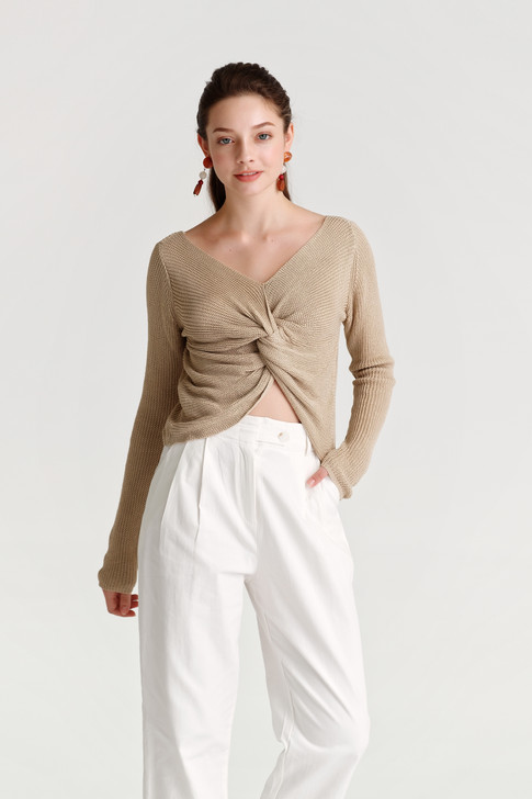 Front-Twist Knit Top