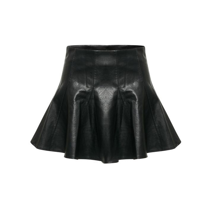 Faux Leather Skater Skirt