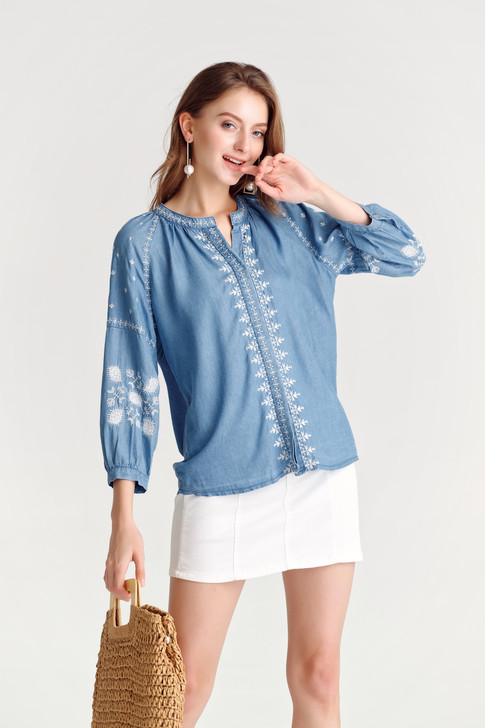 Denim Embroidery Top(10475)