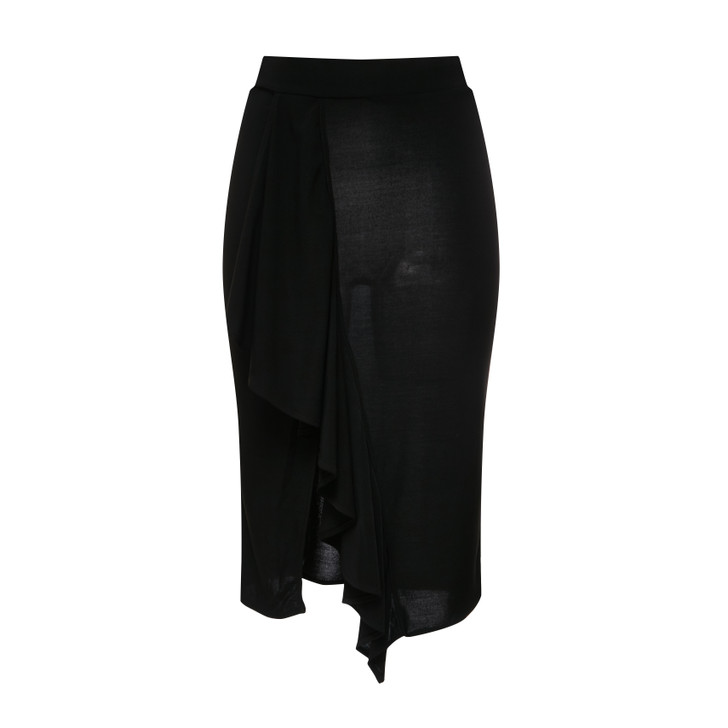 Elastic waistband wrap midi skirt