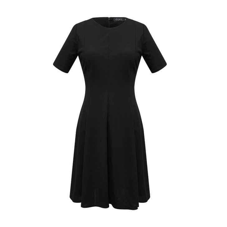 Solid Fit and Flare Panelled Dress