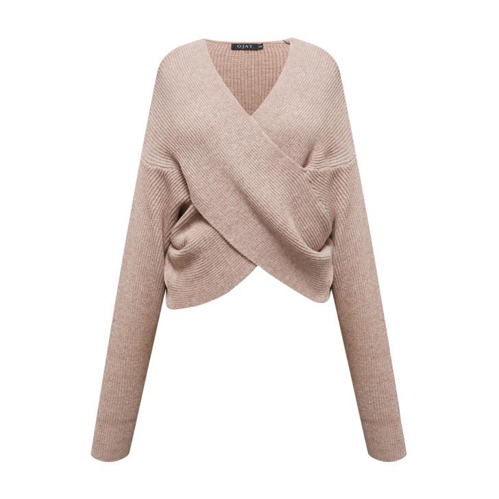 V neck wrapped knit top
