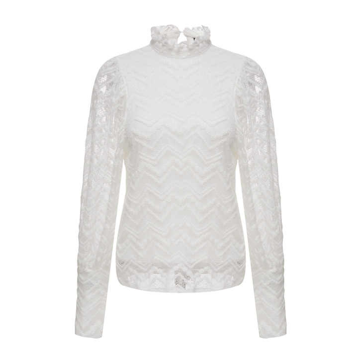 High neck lace knit top