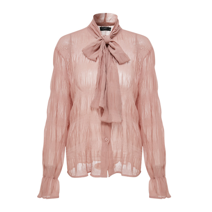 Tie neck flutter cuff shirts