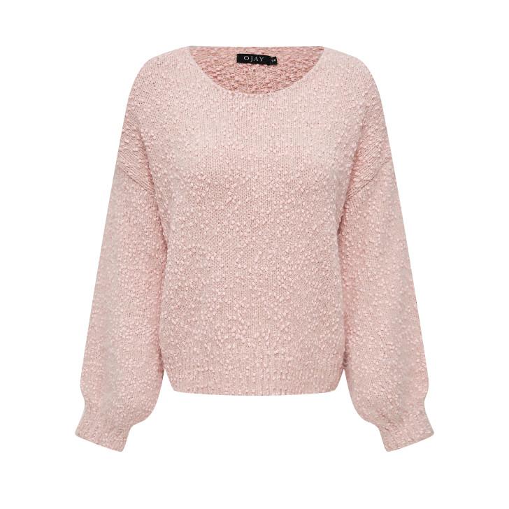 Boat neck fluffy knit top