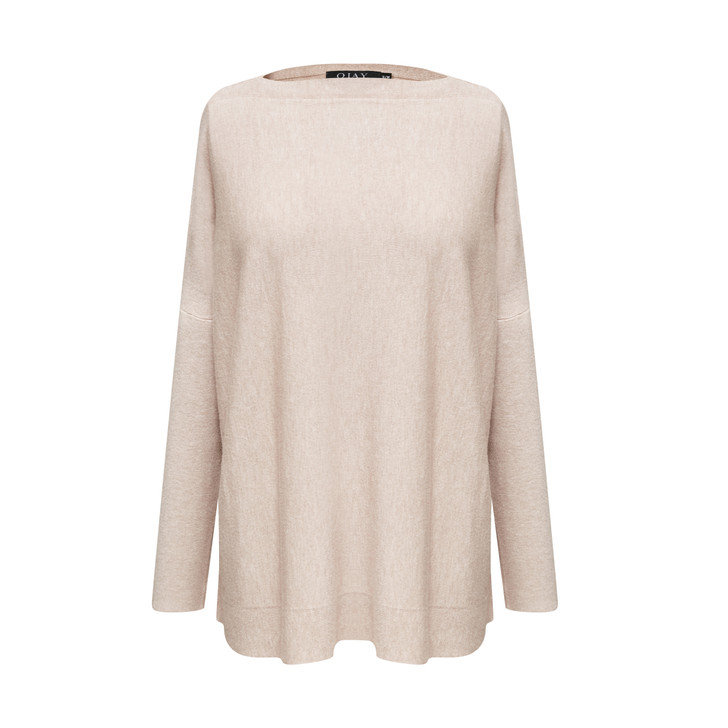 Elegant wide boat neck knit top